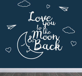 מדבקת קיר - Love you to the moon - 1