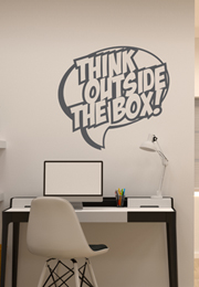 מדבקת קיר - Think outside the box בבועה