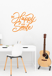 מדבקת קיר - be happy and smile