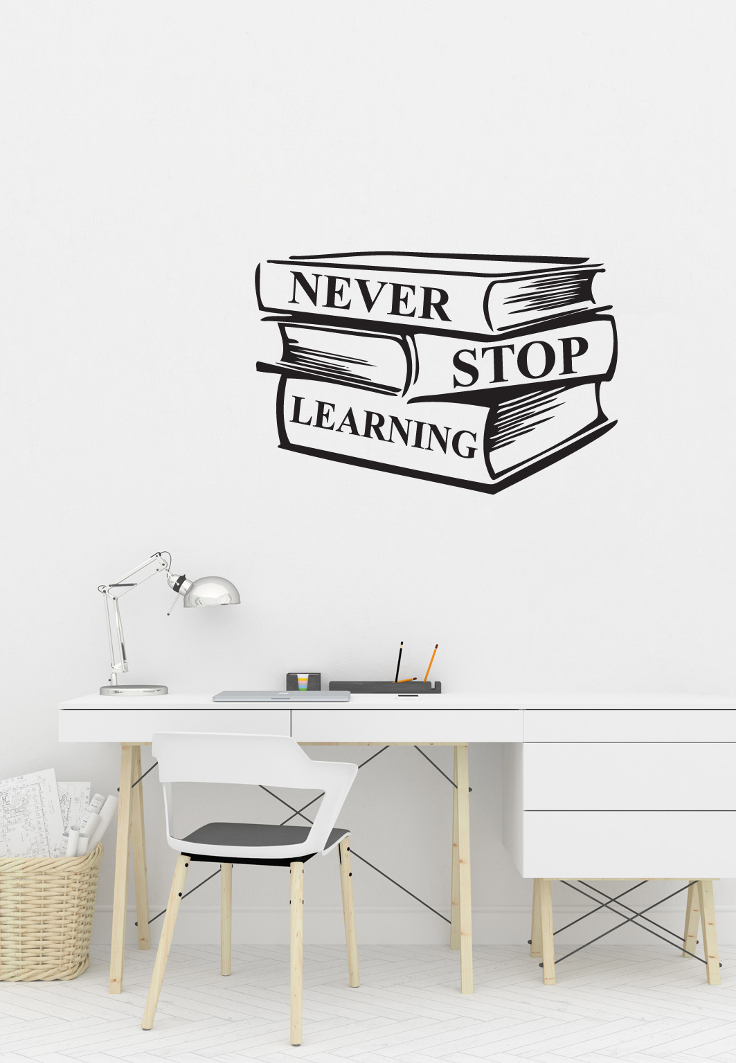 מדבקת קיר - never stop learning