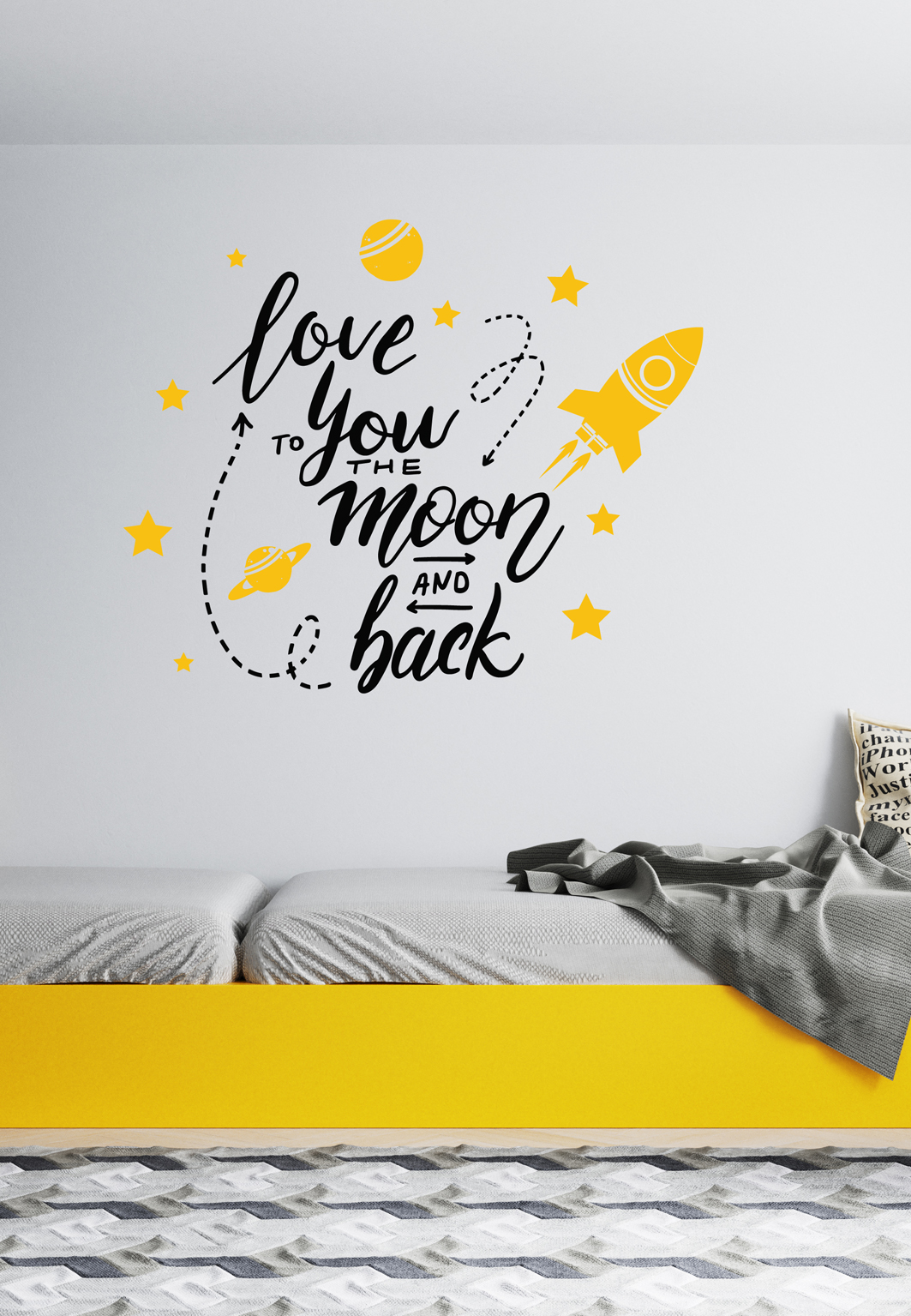 מדבקת קיר - Love you to the moon and back