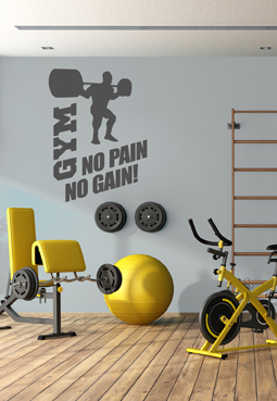 מדבקת קיר - GYM - NO PAIN NO GAIN