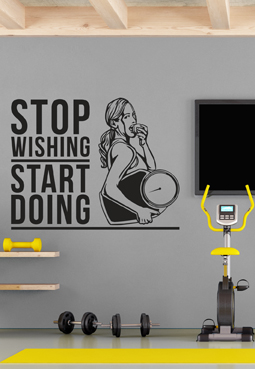 מדבקת קיר - STOP WISHING START DOING - בצירוף מתעמלת