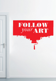 "מדבקת קיר - "" follow your ART "" בצירוף רולר"