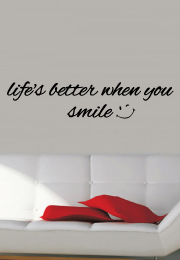 מדבקת קיר - Life is better when you smile  - 1