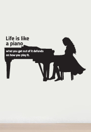 מדבקת קיר - Life is like a piano