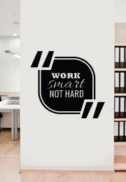 מדבקת קיר : Work smart not hard