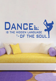 מדבקת קיר - Dance is the hidden language.. בצירוף רקדן