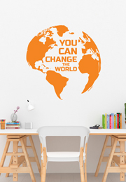 מדבקת קיר - YOU CAN CHANGE THE WORLD
