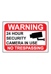 שלט - WARNING - 24 HOUR SECURITY CAMERA IN USE