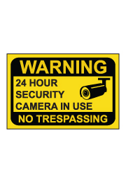 שלט - WARNING - 24 HOUR SECURITY CAMERA IN USE - רקע צהוב