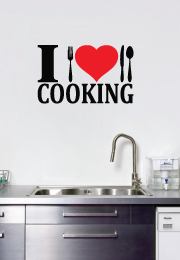 מדבקת קיר - i love cooking